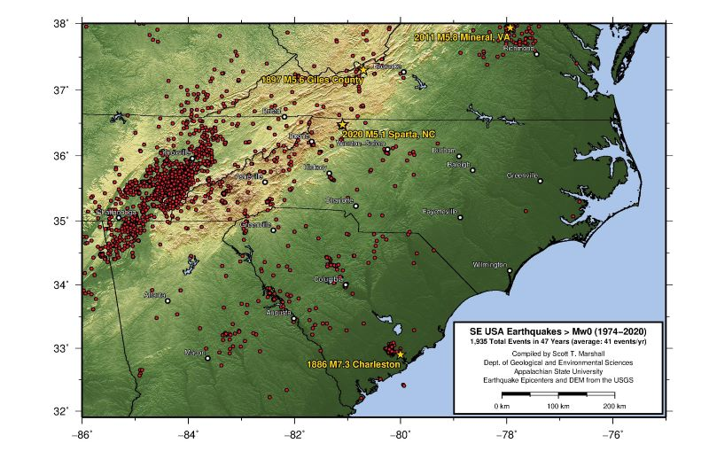 Map of earthquakes in NC and surrounding region, 2020