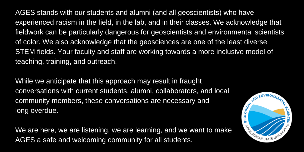 Social Media statement about racism in the geosciences