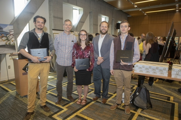 AGES geology majors Carly Maas, Bryson Honeycutt, and their advisors Dr. Bill Anderson and Dr. Cole Edwards