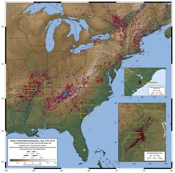 Eastern US earthquake epicenters