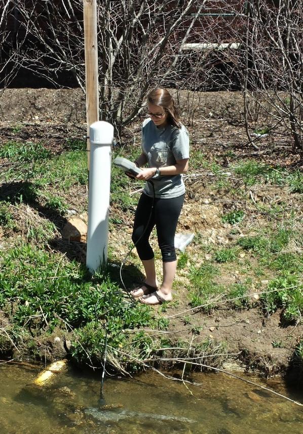 GES major Carly Maas measuring water in Boone Creek