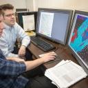 Dorsett and faculty advisory Scott Marshall conducting research