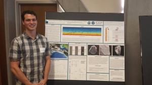 Jacob Pratt presents his research on glacial sediments