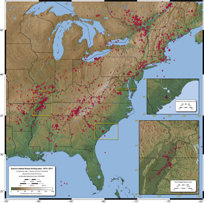 map of earthquake locations in eastern US
