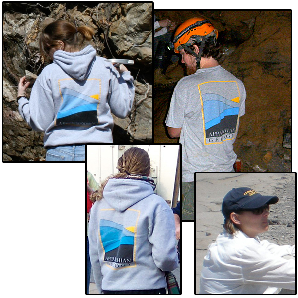 students and faculty in Appalachian Geology Gear