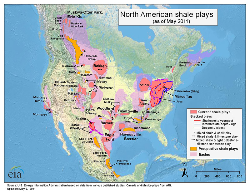 Map of North American shale plays