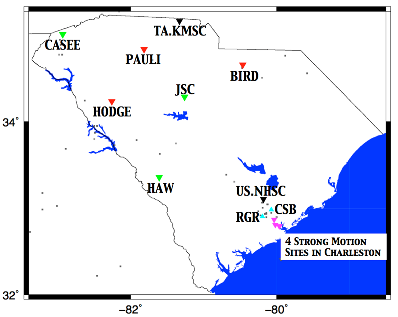 South Carolina Seismic Network (SCSN)map