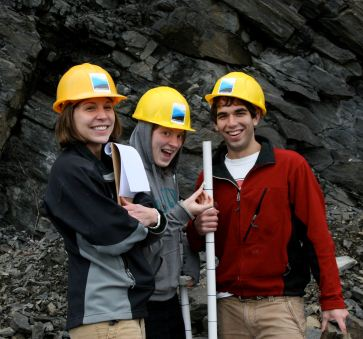 students in quarry
