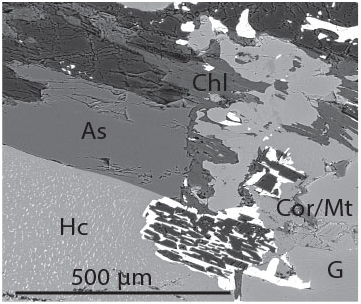 Figure 4. Hercynite exsolution with magnetite can be seen in the bottom left corner and a garnet is seen in the bottom right. Between them are magnetite crystals with corundum inclusions. Above the exsolved hercynite is an aluminosilicate, either silimanite or kyanite.