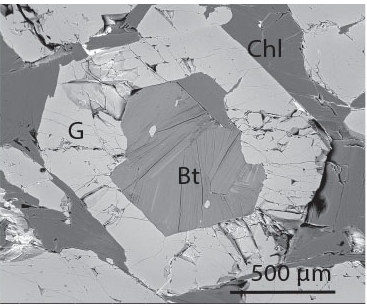Figure 5. A garnet with biotite and chlorite inclusions. This was the only evidence of biotite found in the all the samples analyzed.