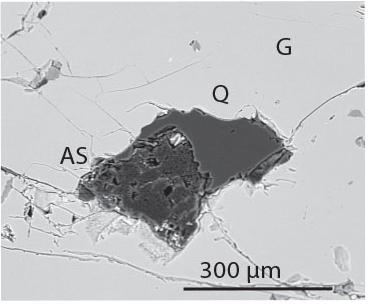 Figure 6. A garnet with aluminosilicate and quartz inclusions. Quartz was only found as inclusions within garnets, and never in the chlorite matrix.