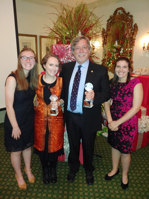 Appalachian State University's Olivia Paschall, Dr. Sarah Carmichael, Dr. Johnny Waters, and Allison Dombrowski receive Expedition of the Year award from the Atlanta Chapter of the Explorers Club