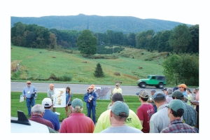 Ellen Cowan discusses the local landscape and geology with Carolina Geological Society members