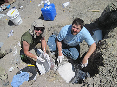 Paleontology students on a dig